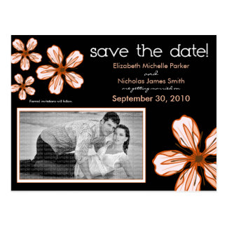 POSTCARD: Coral Cherry Blossom Save the Date Postcard
