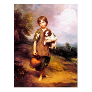 Postcard: Cottage Girl with Dog and Pitcher