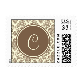 Postcard Customizable Invite Damask And Monograms Stamps