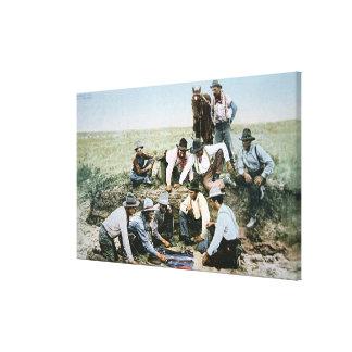 Postcard depicting cowboys gambling shooting craps canvas print