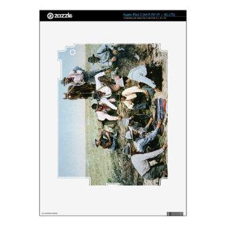 Postcard depicting cowboys gambling shooting craps decals for iPad 3