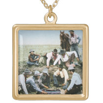 Postcard depicting cowboys gambling shooting craps gold plated necklace