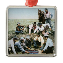 Postcard depicting cowboys gambling shooting craps metal ornament