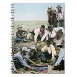 Postcard depicting cowboys gambling shooting craps note book