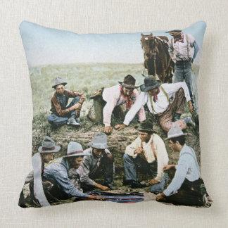 Postcard depicting cowboys gambling shooting craps pillow