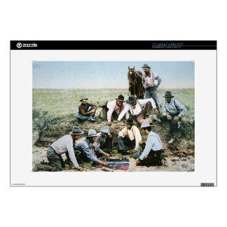 """Postcard depicting cowboys gambling shooting craps skin for 15"""" laptop"""