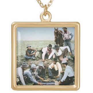 Postcard depicting cowboys gambling shooting craps square pendant necklace
