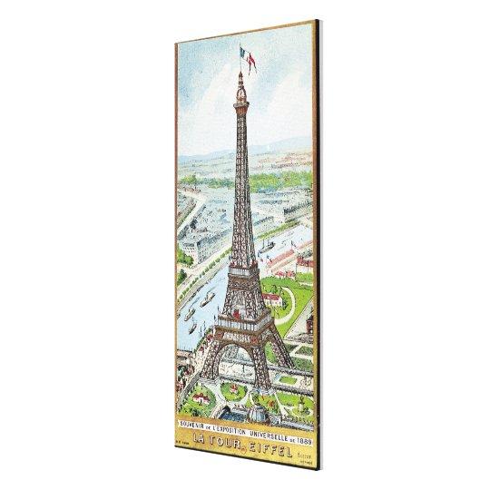 Postcard depicting the Eiffel Tower Canvas Print