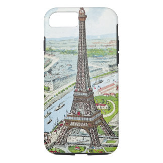 Postcard depicting the Eiffel Tower iPhone 7 Case