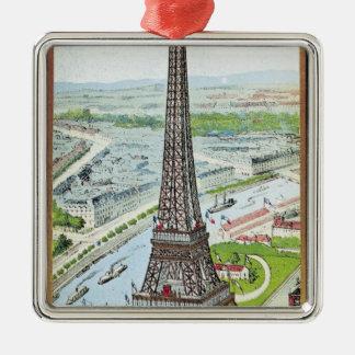 Postcard depicting the Eiffel Tower Metal Ornament