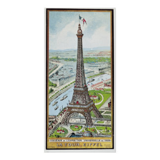Postcard depicting the Eiffel Tower Poster