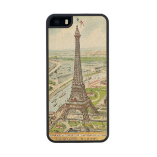 Postcard depicting the Eiffel Tower Wood Phone Case For iPhone SE/5/5s