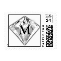 Postcard Diamond Monogram Wedding Postage