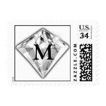 Postcard Diamond Monogram Wedding Postage