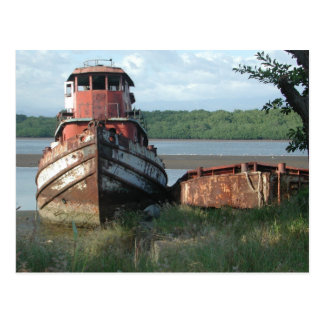 Postcard:  Discarded Tugboat Postcard