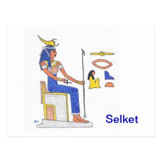 Postcard Egyptian goddess Selket with hieroglyphs