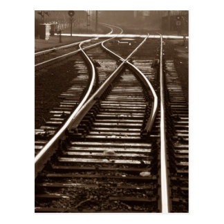 Postcard ~ EMPTY TRAIN TRACKS ~ Railroad Switch