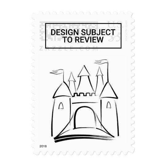 Postcard Fairytale Wedding Castle Outline Postage Zazzle Com