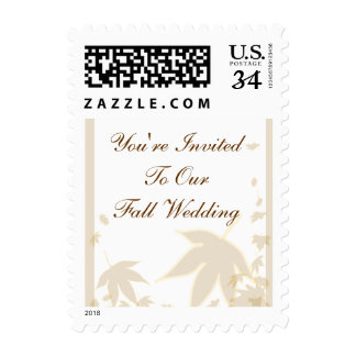 Postcard Fall Wedding Invitation Postage Stamp