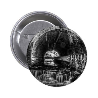 Postcard Falls in Black and White Pinback Buttons