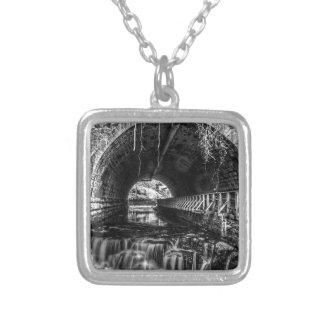 Postcard Falls in Black and White Square Pendant Necklace