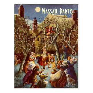 Postcard Festive Holiday Wassail Party Celebration
