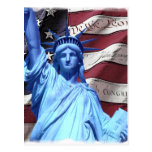 Postcard Flag & Statue of Liberty