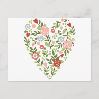 Postcard - Floral Heart - Valentine's Day