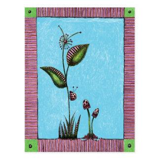 Postcard, Flower Ladybug Mushrooms Postcard