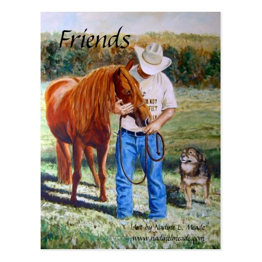 Postcard, Friends, Man with horse and dog