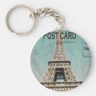 Postcard From Paris EIffel Tower Basic Round Button Keychain