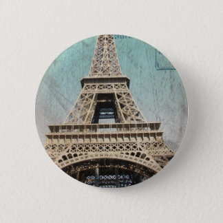Postcard From Paris EIffel Tower Pinback Button