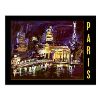 paris, postcard, night, night lights' paintings art ginette, fine art, europe, travel, france, french, eiffel, tower, acrylic, Postcard with custom graphic design
