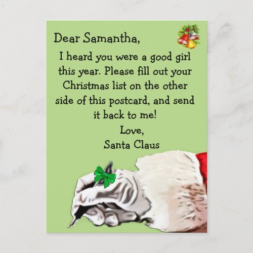 Postcard from Santa Claus for child Holiday Postcard