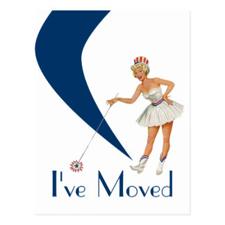 Postcard Fun Retro I've Moved Woman New Address PC