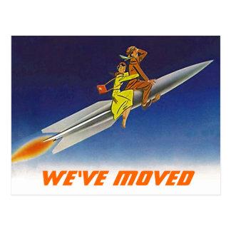 Postcard Fun Retro We've Moved New Address Rocket