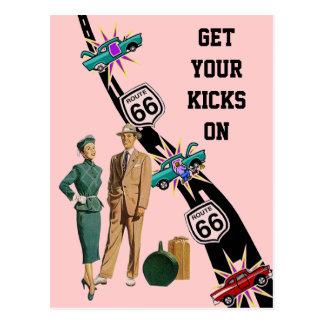 Postcard GET YOUR KICKS ON ROUTE 66 Retro Style