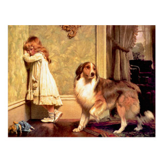 Postcard: Girl with Pet Sheltie Postcard