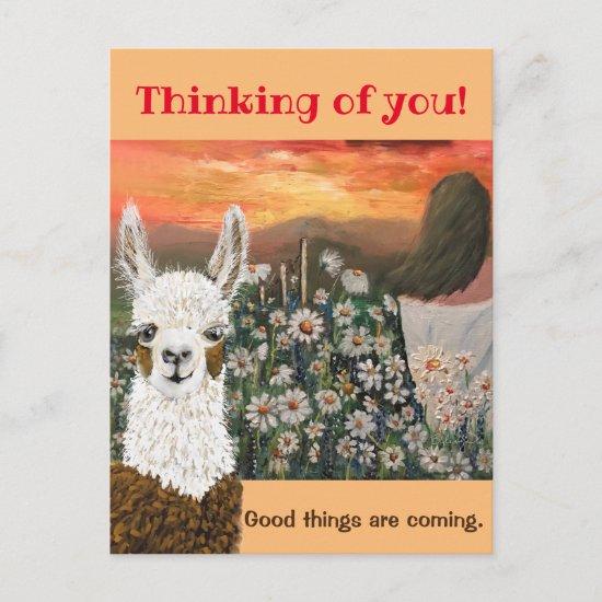 Postcard.  Good Things Are Coming Mama Llama Postcard