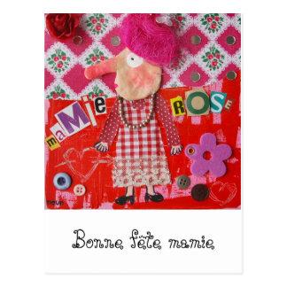 Postcard granny-pink, Good festival granny