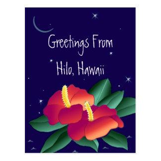 Postcard Greetings From Hilo Hawaii Tropical Night