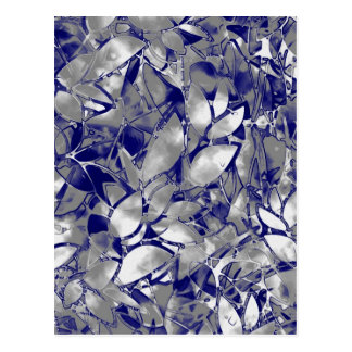 Postcard Grunge Art Silver Floral Abstract