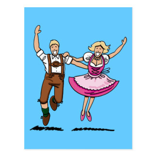 Postcard Happy Bavarian Couple Dancing
