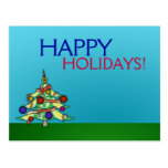 Postcard Happy Holidays Christmas Tree Landscape