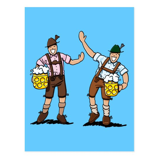 Postcard Happy Lederhosen Men Beer Stein
