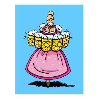 Postcard Happy Oktoberfest Beer Waitress Dirndl