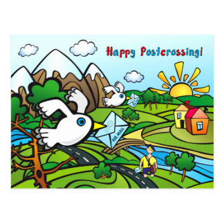 "Postcard ""Happy Postcrossing!"" - Pigeon post"