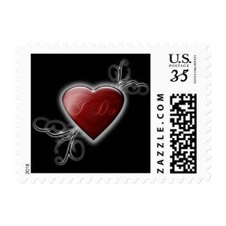 Postcard I Do Wedding Red Hearts Postage