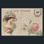 "Postcard Illustration/Victorian Lady With Roses Tissue Paper<br><div class=""desc"">Very Feminine Antique Illustration Tissue Paper: Elegant Portrait/Victorian/Edwardian Lady with Pink Roses</div>"
