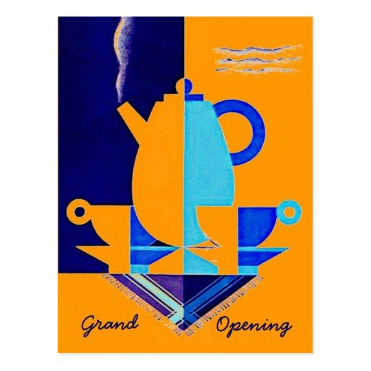 POSTCARD INVITATION GRAND OPENING TEA COFFEE PROMO